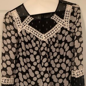 Anthropologie black and white blouse